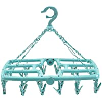 MOCOFO Foldable Clip and Drip Laundry Drying Hanger Rack with Strong Pegs Sage Green