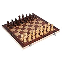 O'lemon 3 in 1 Wooden International Chess Set, Chess, Checker, Backgammon Combination Foldable Game Set, Gift for Kids Students
