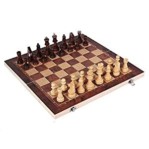 O'lemon 3 in 1 Wooden International Chess Set, Chess, Checker, Backgammon Combination Foldable Game Set, Gift for Kids Students