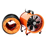 TOTOOL Ventilator Blower 12'' Potable Industrial Utility Fan High Velocity Blower Fan Ventilator Fume Extractor with Duct Hose (12'' w/ hose)