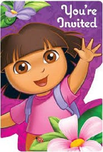 Dora the Explorer Flower Adventure Invitations and Thank you Cards