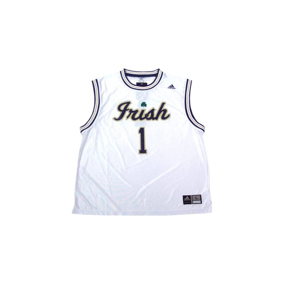 Adidas Notre Dame Fighting Irish #1 White Replica Basketball Jersey