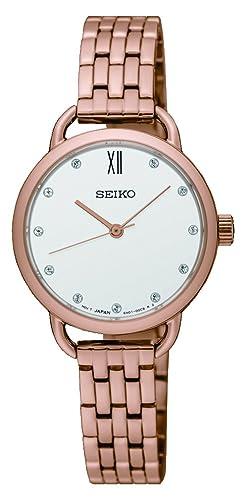 Seiko Women s 26.5mm Rose Gold-Tone Steel Bracelet Case Hardlex Crystal Quartz White Dial Watch SUR698