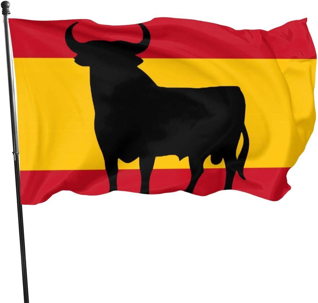 Utdestine Bandera de España de 3 x 5 pies con Toro Osbornes de poliéster Resistente, Color Vivo y Resistente a los Rayos UV, para macetas de jardín, fácil de Instalar, Negro, tamaño
