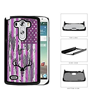PINK Deer Hunter Skull Bones Antlers on USA Flag & Wood Background LG G3 VS985Hard Snap on Plastic Cell Phone Cover
