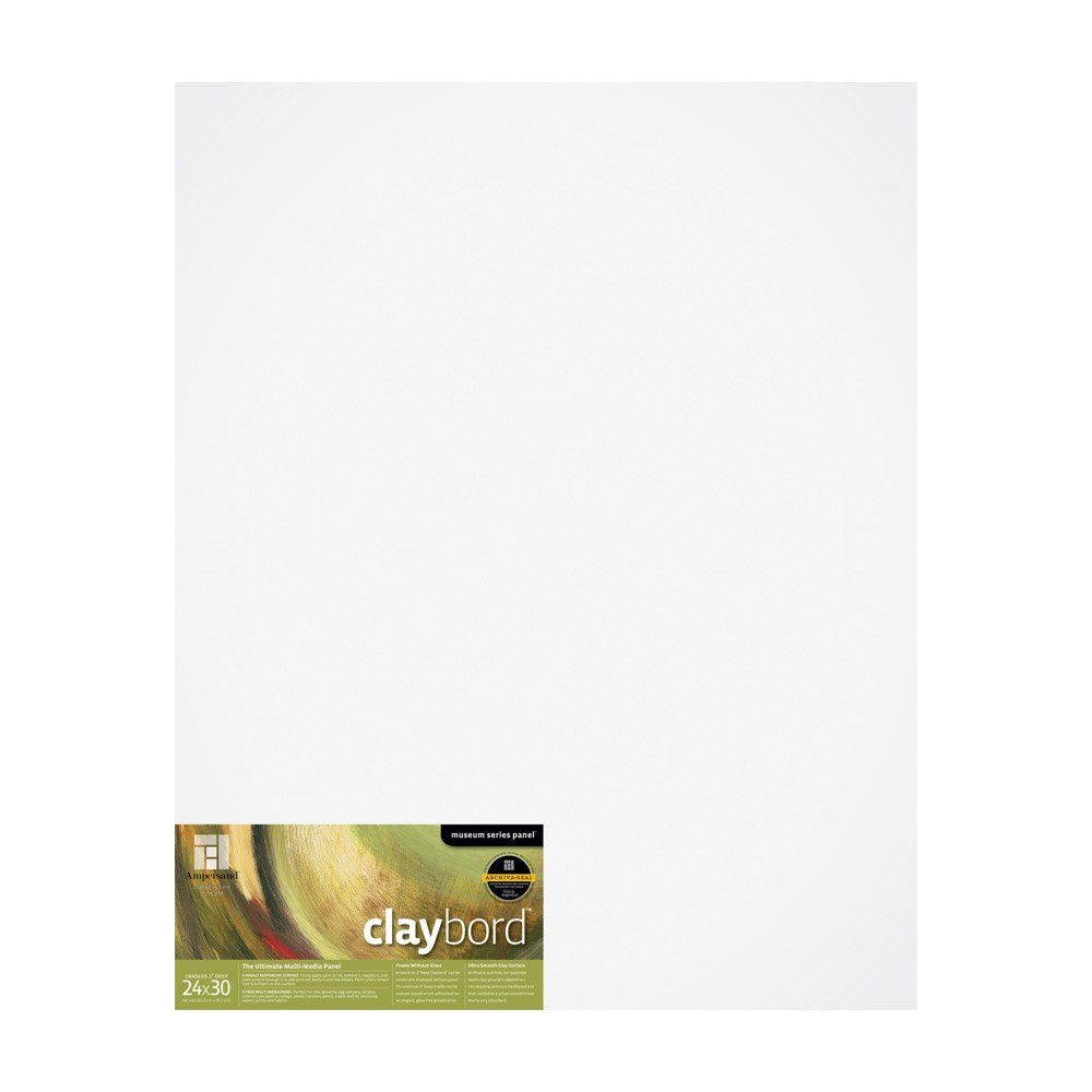 Ampersand Museum Series Claybord Panels for Paint and Ink, 2 Inch Depth Cradled, 24X30 Inch (CBSWC2430)