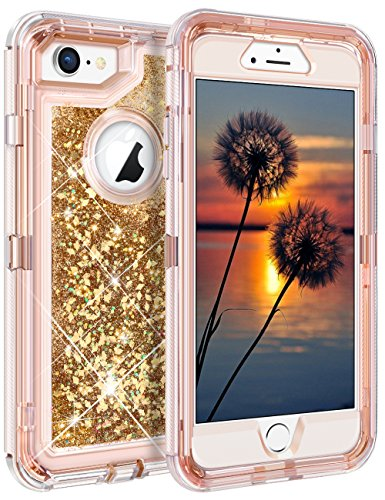 Coolden iPhone 8 Case, Shining Liquid Glitter Case Girls Bling Sparkle Heavy Duty Protective Armor Case Hard PC Inner Frame & Soft TPU Back Cover iPhone 7 8, Rose Gold