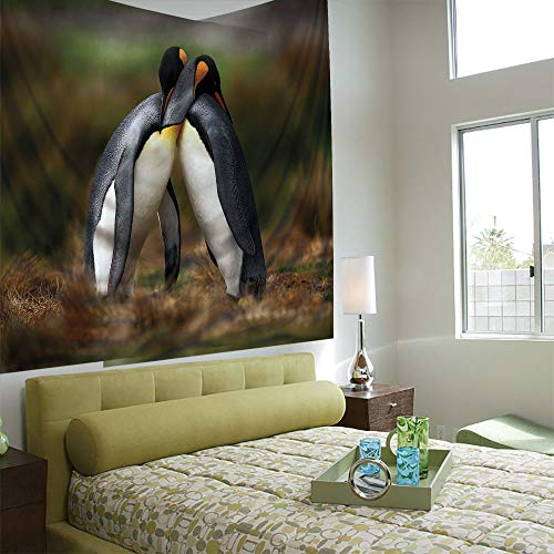 Fashionable Personality Tapestry Home Decoration Background Elastic Living Room,Animal,Penguin Couple Cuddling in Wild Nature Love Affection Romance Falkland Islands Fauna Decorative,Multicolor