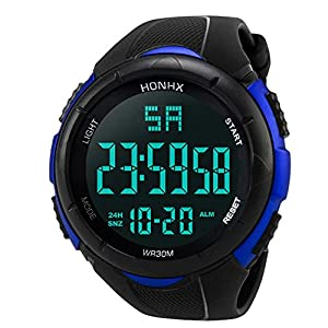 Reloj digital impermeable para hombre, KanLin1986 Reloj LED digital deportivo para mujer Fecha de alarma Reloj impermeable con banda elástica(No presione ninguna tecla debajo del agua) (Azul) 51O6XGHHwrL