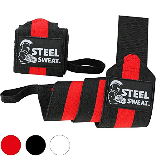 (Steel Sweat Wrist Wraps - Best for Weight Lifting, Powerlifting, Gym and Crossfit Training - Heavy Duty Support - Black/Red 24