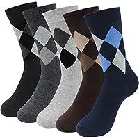 Hippih 5pares calcetines de vestido de los hombres de algodón Argyle calcetines varios colores para Business Casual, general, A