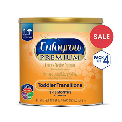 Large Product Image of Enfagrow PREMIUM Non-GMO Toddler Transitions Formula - Powder can, 20 oz each (Pack of 4)