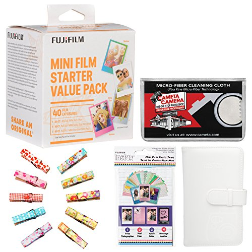 Fujifilm Instax Mini Starter Value Pack Instant Film (40 Color Prints) with Mini Wallet + Wood Peg Clips + Frame Stickers + Cleaning Cloth (Film Starter)