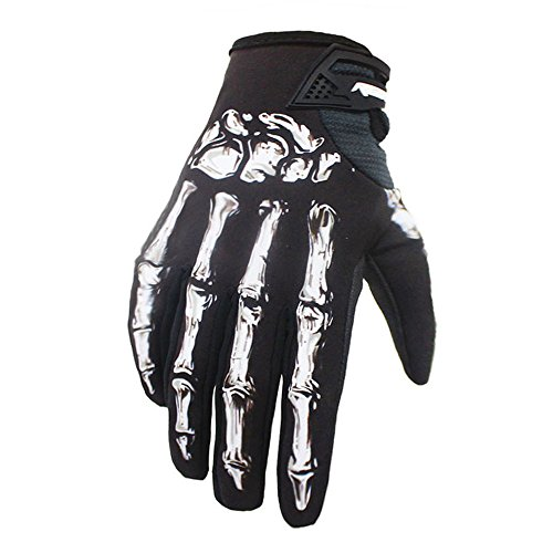 Linlyca Breathable Full Finger Cycling Gloves Waterproof Windproof Touchscreen Racing Bikeing Training Gloves with Skeleton Pattern for Autumn and Winter (White, L) ()