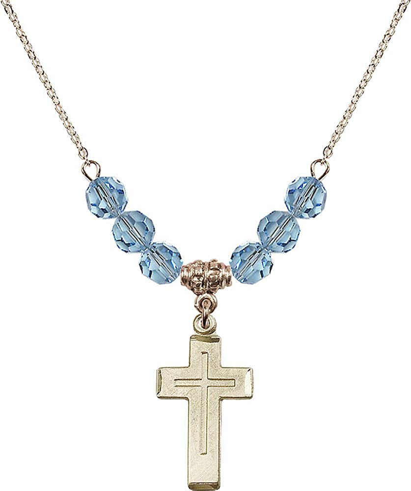 Aqua March Birthstone 18-Inch Hamilton Gold Plated Necklace with 6mm Aqua Birthstone Beads and Cross Charm