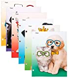 Mead 2-Pocket Folders, Folders with Pockets, 12'' x 9-3/8, Purrs & Grrrs, Assorted Designs, 6 Pack (73869)