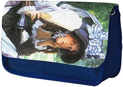 Tissot A Young Woman With A Fan, Azul Escuela Niños Sublimación Alta calidad Poliéster Estuche de lápices con Diseño Colorido. 21x13 cm.: Amazon.es: Oficina y papelería