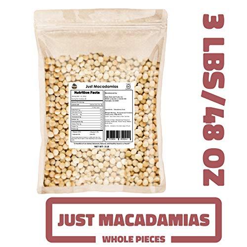 Just Macadamias 3 LB BULK, RAW, HEALTHY, MACADAMIA NUTS (Wholes, 48 OZ) (KOSHER CERTIFIED) (Kisses With Macadamia Nuts)