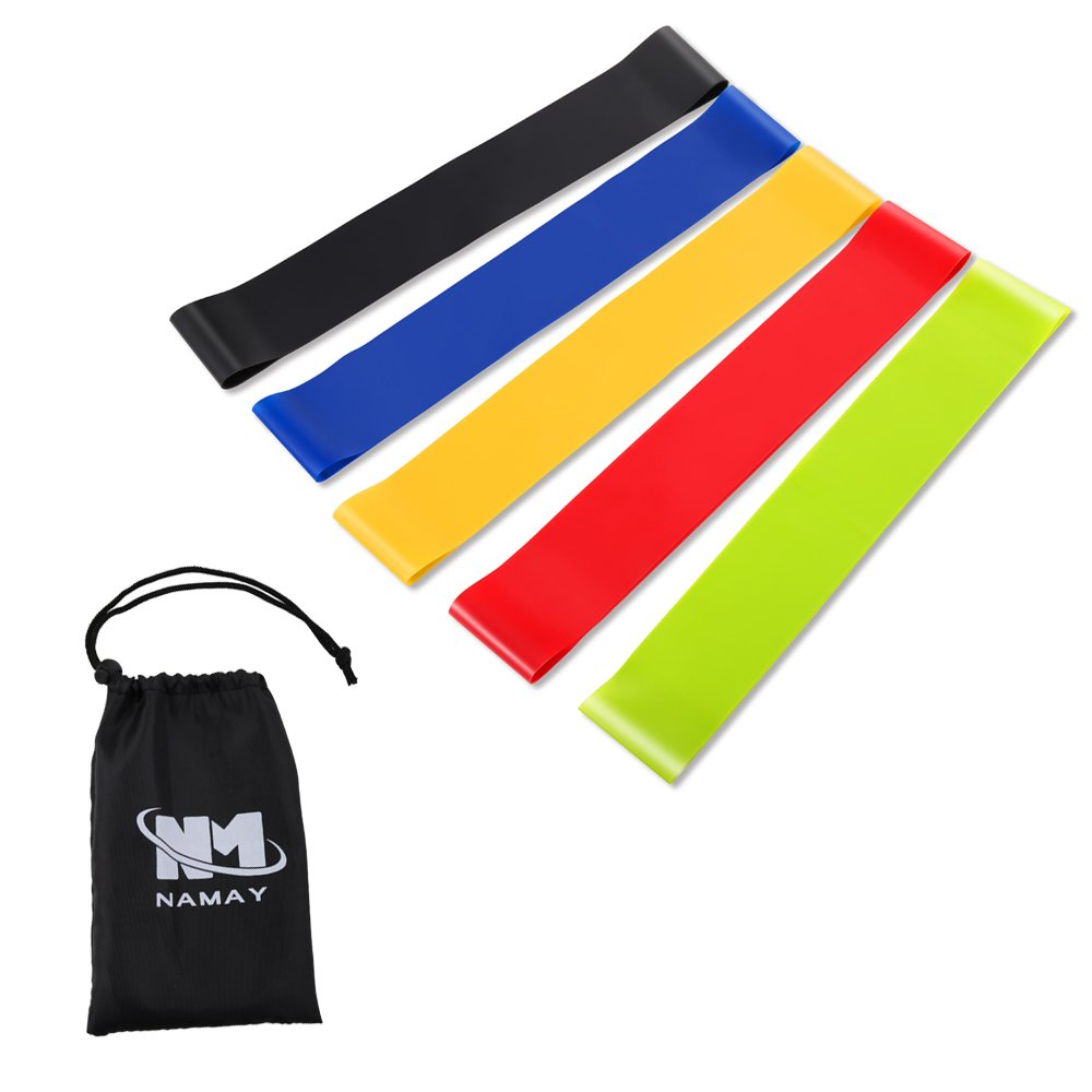 Namay Resistance Bands, Exercise Elastic Loop Band- set of 5 for Fitness, Stretching, Physical therapy with Black Carry Bag and Guiding Book