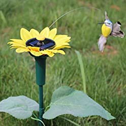 Artificial Solar Power Sunflower Hummingbird Rotation Fluttering Bird Garden Decoration