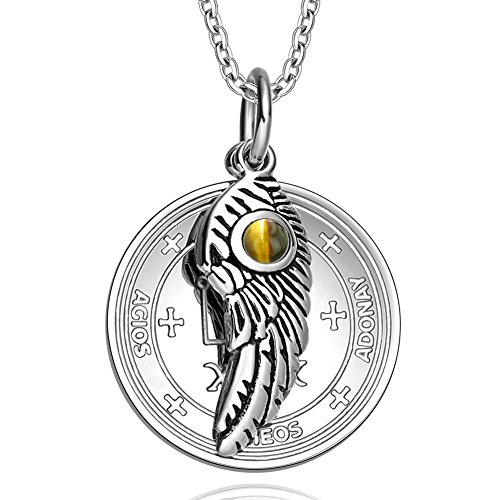 Archangel Raphael Sigil Amulet Magic Powers Angel Wing Charm Tiger Eye Pendant 18 Inch Necklace