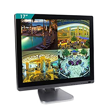 Image of Cocar 17 inch Security Monitor with BNC Chrome Silver Glass Panel VGA HDMI USB AV Audio Built-in Speaker 4:3 HD CCTV Display LED Backlight LCD Screen Display for Home Surveillance Camera PC 1280x1024 Security Monitors & Displays