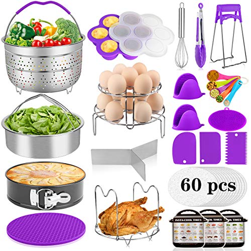 Aiduy 23 Pieces Accessories for Instant Pot 6,8 Qt, Pressure Cooker Accessories Set - 2 Steamer Baskets, Springform Pan, Stackable Egg Steamer Rack, Egg Bites Mold, 60 Pcs Parchment Paper