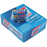 """S.O.S. All-Surface Scrubbing Sponge, 3 x 5-1/4, 1"""" Thick, Blue - eight packs of three sponges each."""