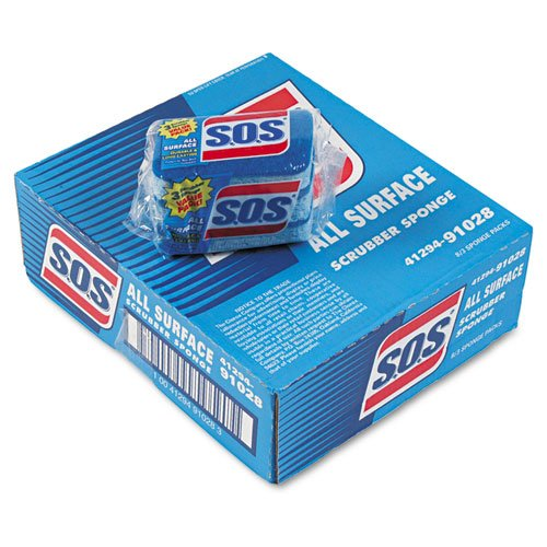 S.O.S. All-Surface Scrubbing Sponge, 3 x 5-1/4, 1'' Thick, Blue - eight packs of three sponges each.