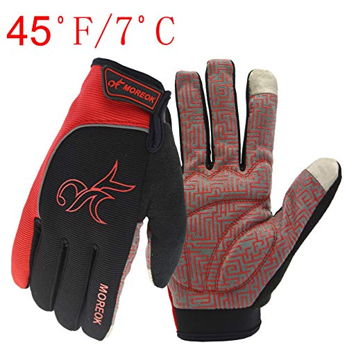 MOREOK Long Finger Winter Cycling Gloves Touch Screen Fleece Gloves with Gel Pading Full Finger for Cold Weather for Outdoor Driving Sporting Climbing Hunting Fishing Hiking (Red, L)