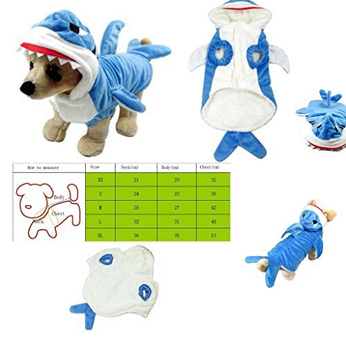 [Flybird8888 Pet Style Shark Jaws Fancy Dress Costume Outfit Adorable Blue Shark Pet Costume Hoodie Coat for Dogs and Cats] (Pomeranian Costume)