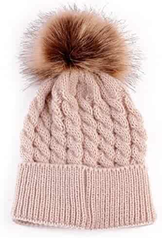 d5ae9eeb7c9 Polytree Newborn Baby Toddlers Winter Warm Hats Knitted Beanies with Pom Pom