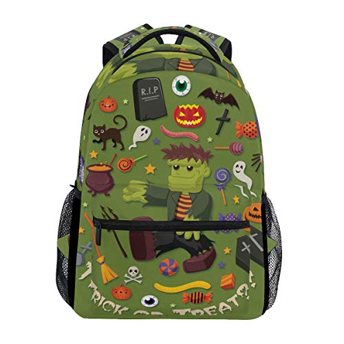 AHOMY Girls School Backpack Halloween Skull Head Jack-O'-Lantern Ghost College Book Bag Lady Travel Rucksack -