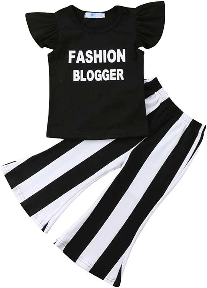 preetyyou Toddler Baby Girl Clothes Off Shoulder Tube Top Shirt Bell Bottom Jeans Pants Summer Outfits