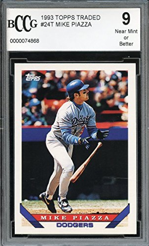 1993-topps-traded-24t-mike-piazza-los-angeles-dodgers-rookie-card-bgs-bccg-9-graded-card