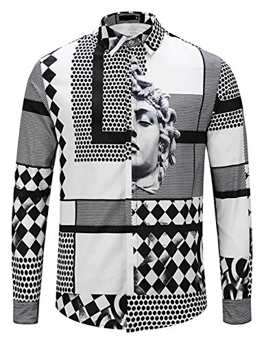 PIZOFF Mens Long Sleeve Luxury Black and White Geometric Patterns Print Dress Shirt ()