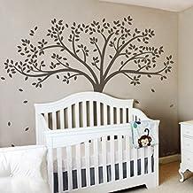 Vinyl Tree Wall Decal Tree Wall Sticker Fall Tree Wall Decor Nursery Wall Decal Baby Nursery Room Art Decor Dark Brown