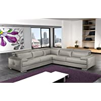 J&M Furniture Gary Ash Grey Full Top Grain Italian Leather Sectional Sofa