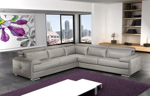 J&M Furniture Gary Ash Grey Full Top Grain Italian Leather Sectional ()