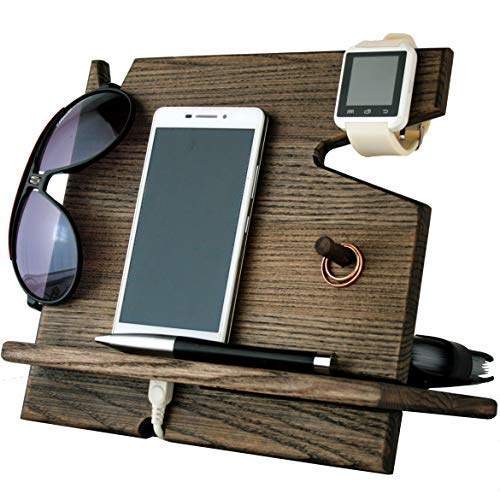 Wooden Cell Phone Stand. Nightstand Multiple Charging Dock Watches Holder. Wood Valet Key Tray Organizer. Mens Desk Docking Station. Smart Watch Mobile Devices Base. Bed Side Storage Caddy Men Gifts