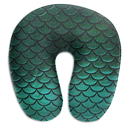 NiYoung Travel Neck Pillow Cervical Vertebra Office Neck Pillow Airplane Sleep Artifact Female Male Neck Support Plane Pillows - Green Pastel Mermaid Fish Scale ()