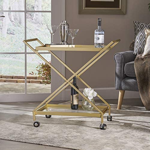 Christopher Knight Home Easter Indoor Industrial Iron and Glass Bar Cart