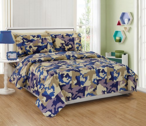 (Mk Collection 3pc Twin Sheet Set Camouflage Army Beige Blue Taupe Off White New)