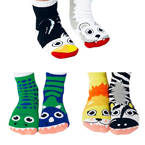 - Lion and Zebra, T-Rex and Triceratops, Polar Bear and Penguin - Toddler Sock Set - Mighty Mates Mismatched Friends 3-Pack