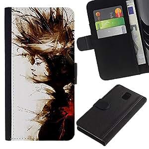 Planetar® Modelo colorido cuero carpeta tirón caso cubierta piel Holster Funda protección Para SAMSUNG Galaxy Note 3 III / N9000 / N9005 ( Pintura de la acuarela Significado Profundo)