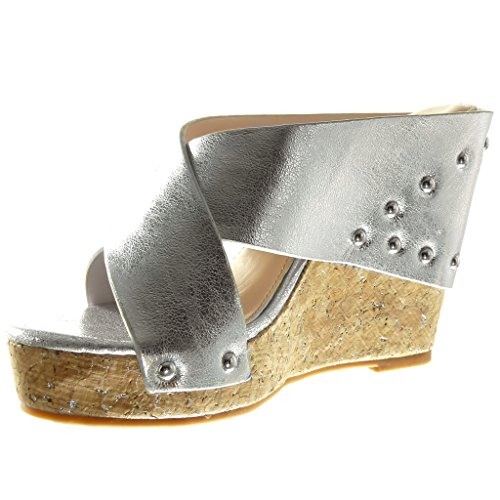 Angkorly Women's Fashion Shoes Sandals Mules - Platform - Studded - Thong - Cork Wedge 11 cm Silver MmDTpvgR