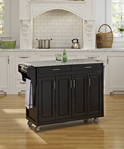 Create-a-Cart Black 4 Door Cabinet Kitchen Cart with Gray Granite Top by Home Styles