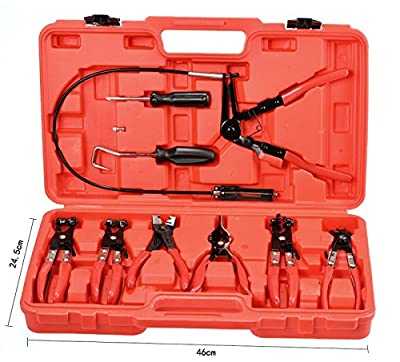 Cosway 9pcs Professional Long Reach Hose Clamp Pliers Set Car Repair Tool Kit with Case for Home Mechanic, US Stock