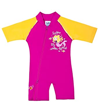 bbe63e193 Amazon.com: SunWay Kids Baby Girls Red Swimwear Swimsuit UV UPF50 (6 ...