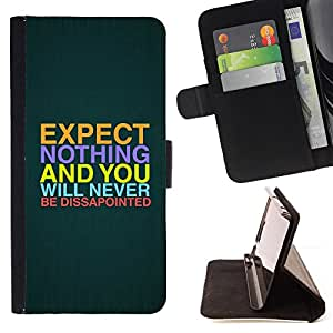 BullDog Case - FOR/HTC One M7 / - / expectations hope quote slogan disappointment /- Monedero de cuero de la PU Llevar cubierta de la caja con el ID Credit Card Slots Flip funda de cuer